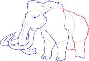 Рисуем мамонта карандашами - шаг 6