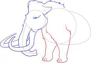 Рисуем мамонта карандашами - шаг 5