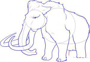 Рисуем мамонта карандашами - шаг 7