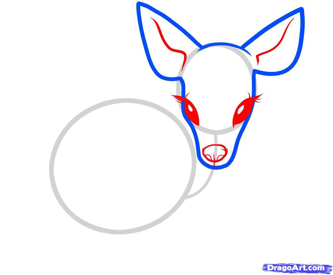 Рисуем олененка ребенку - шаг 3