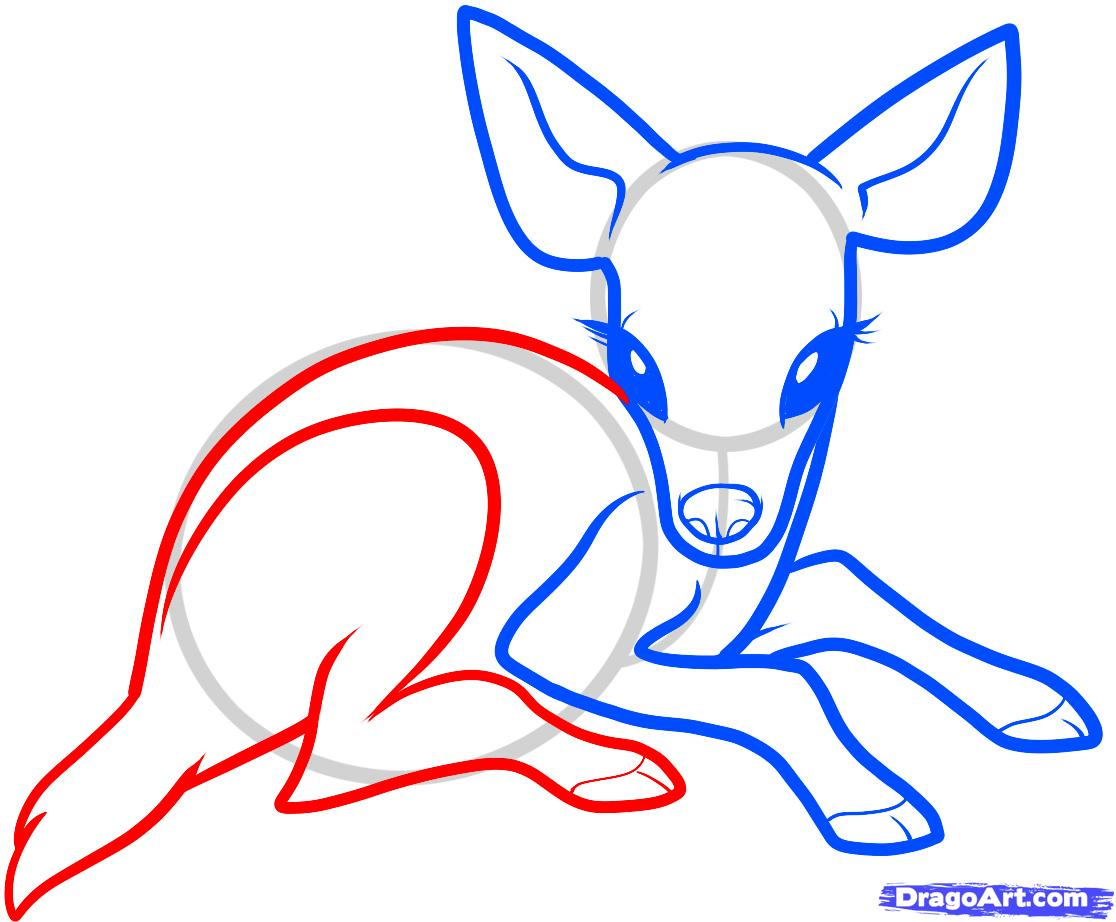 Рисуем олененка ребенку - шаг 5