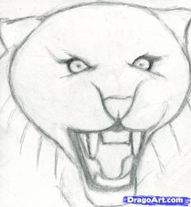Учимся рисовать голову тигра с открытым ртом - шаг 3