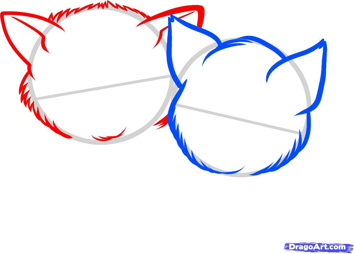 Рисуем двух котят - шаг 3