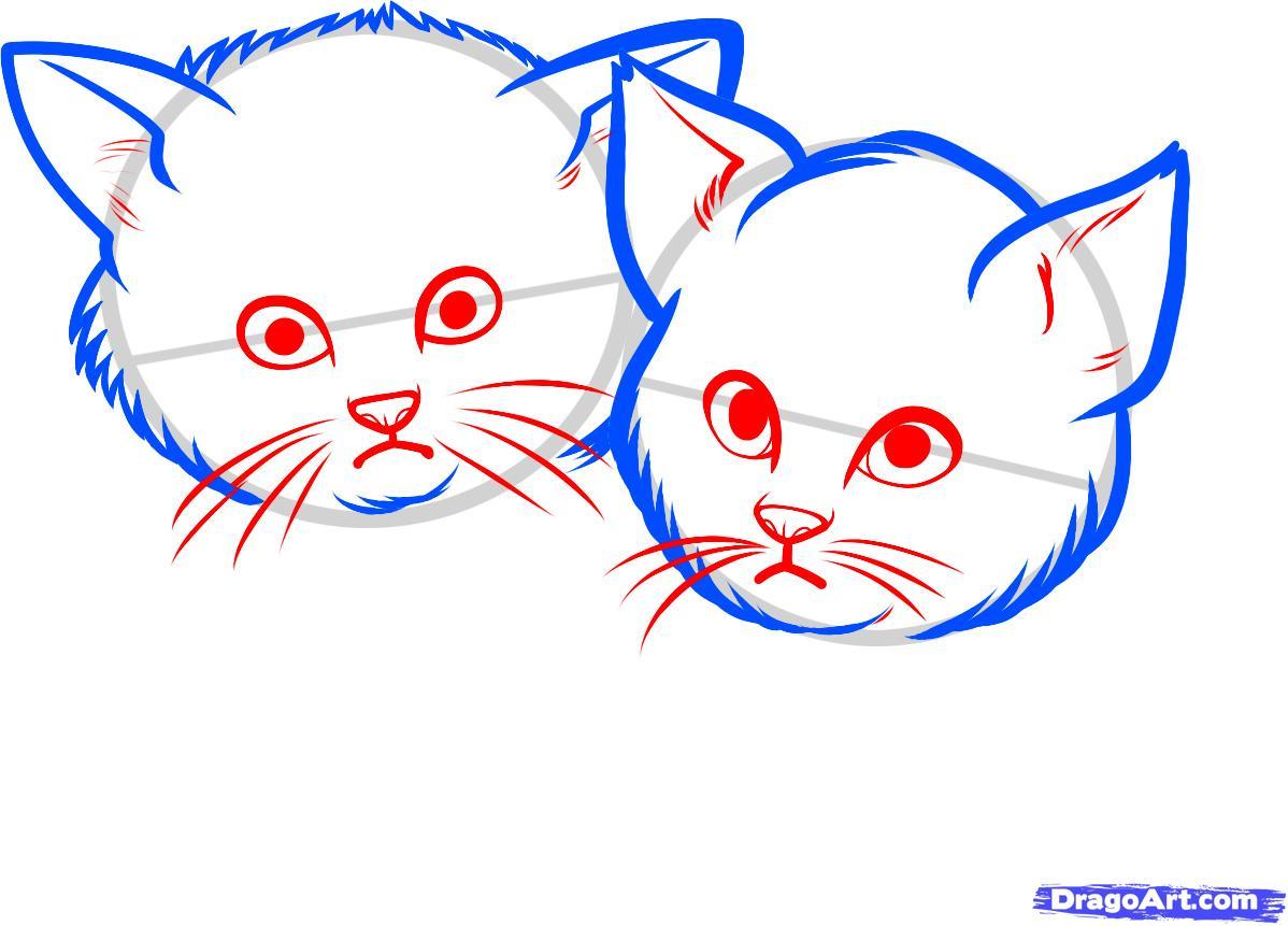 Рисуем двух котят - шаг 4