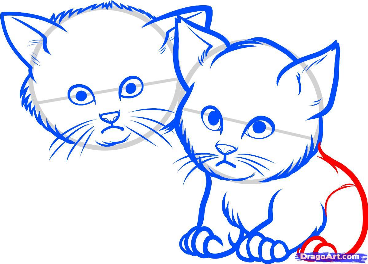 Рисуем двух котят - шаг 6
