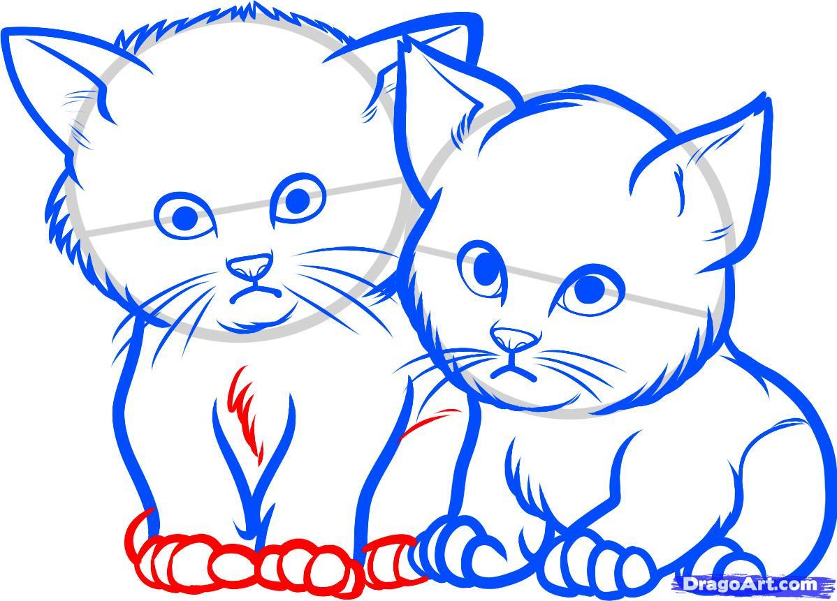 Рисуем двух котят - шаг 8