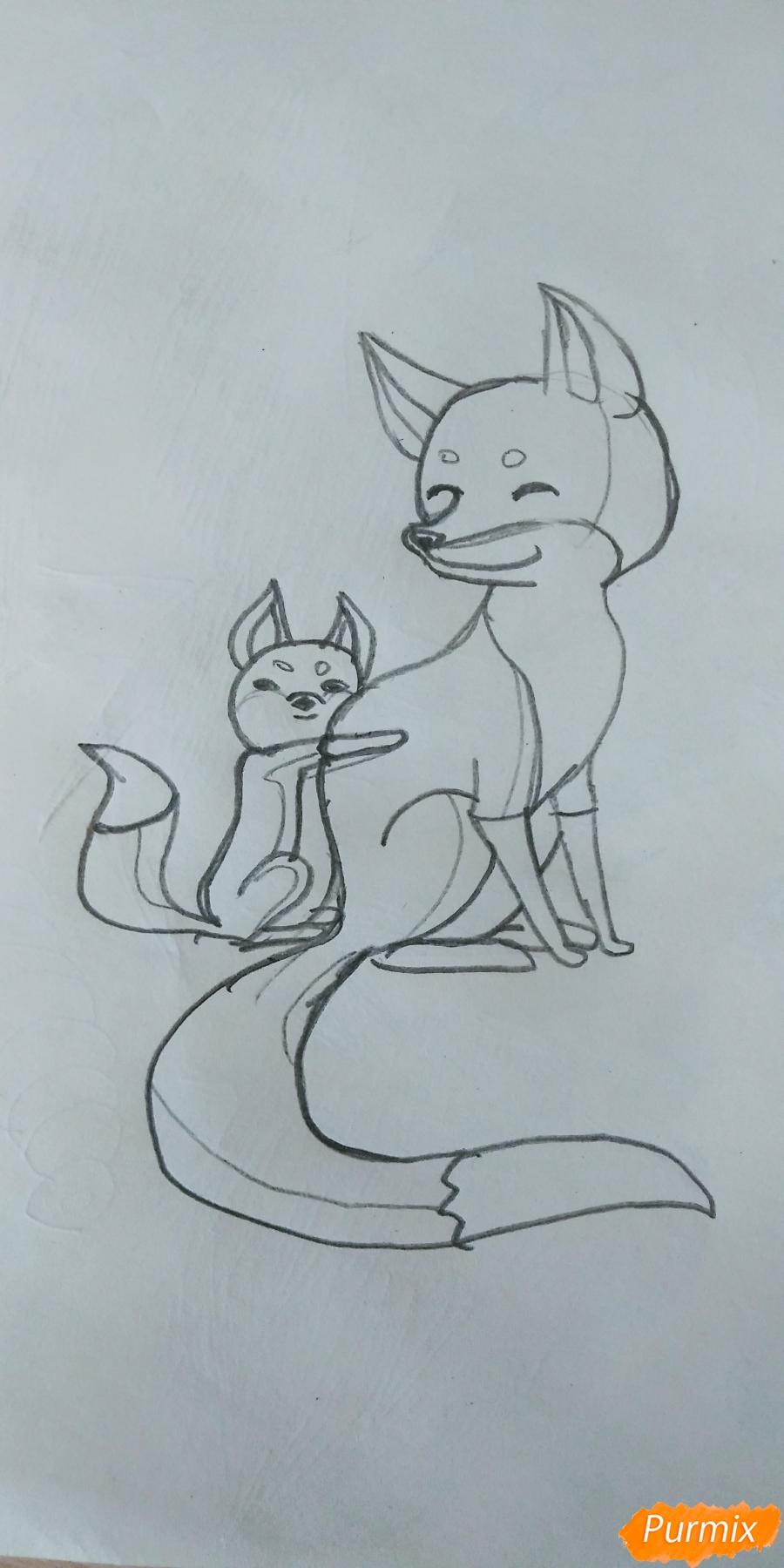 Как легко и просто нарисовать Маму лису с сыночком - шаг 3