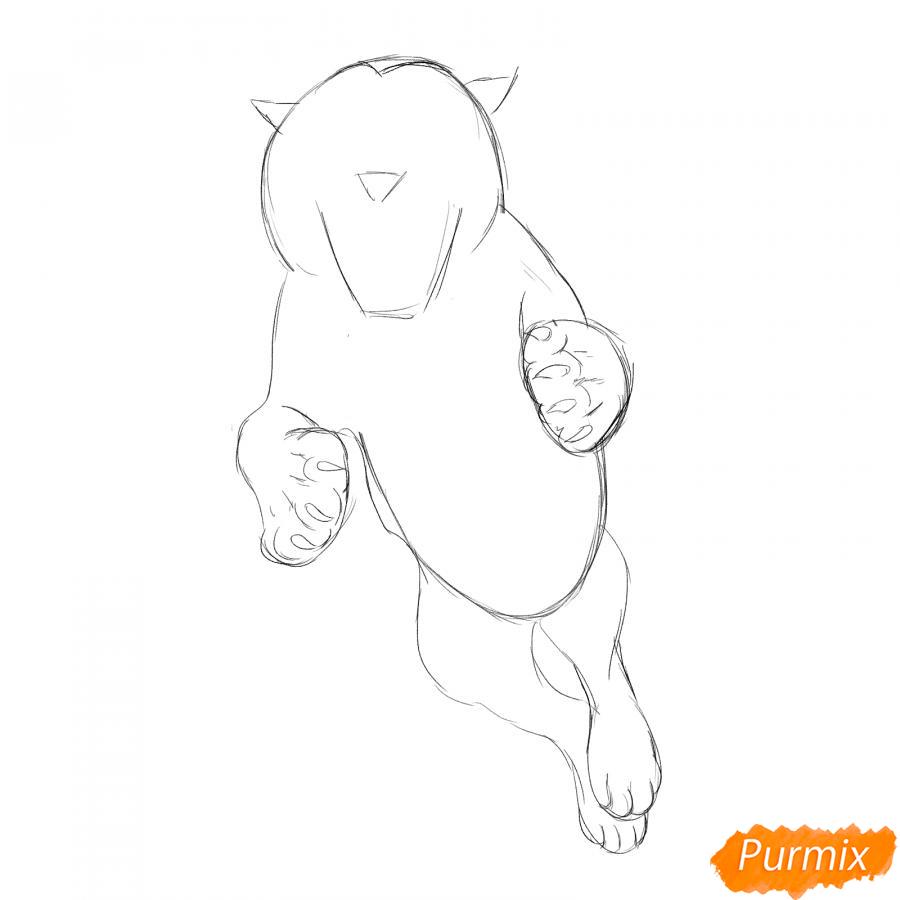 Рисуем амурского тигра в прыжке - шаг 3