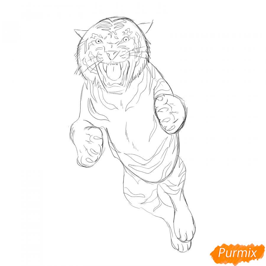Рисуем амурского тигра в прыжке - шаг 4