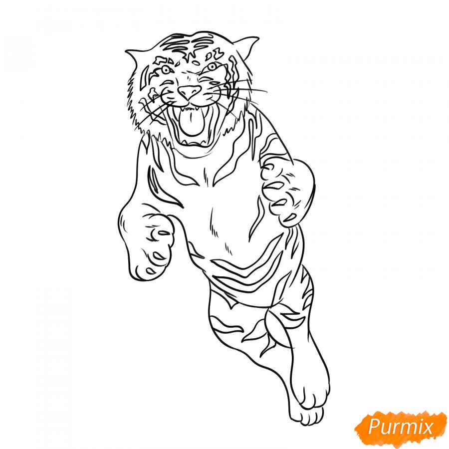 Рисуем амурского тигра в прыжке - шаг 5