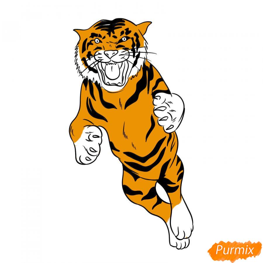 Рисуем амурского тигра в прыжке - шаг 7