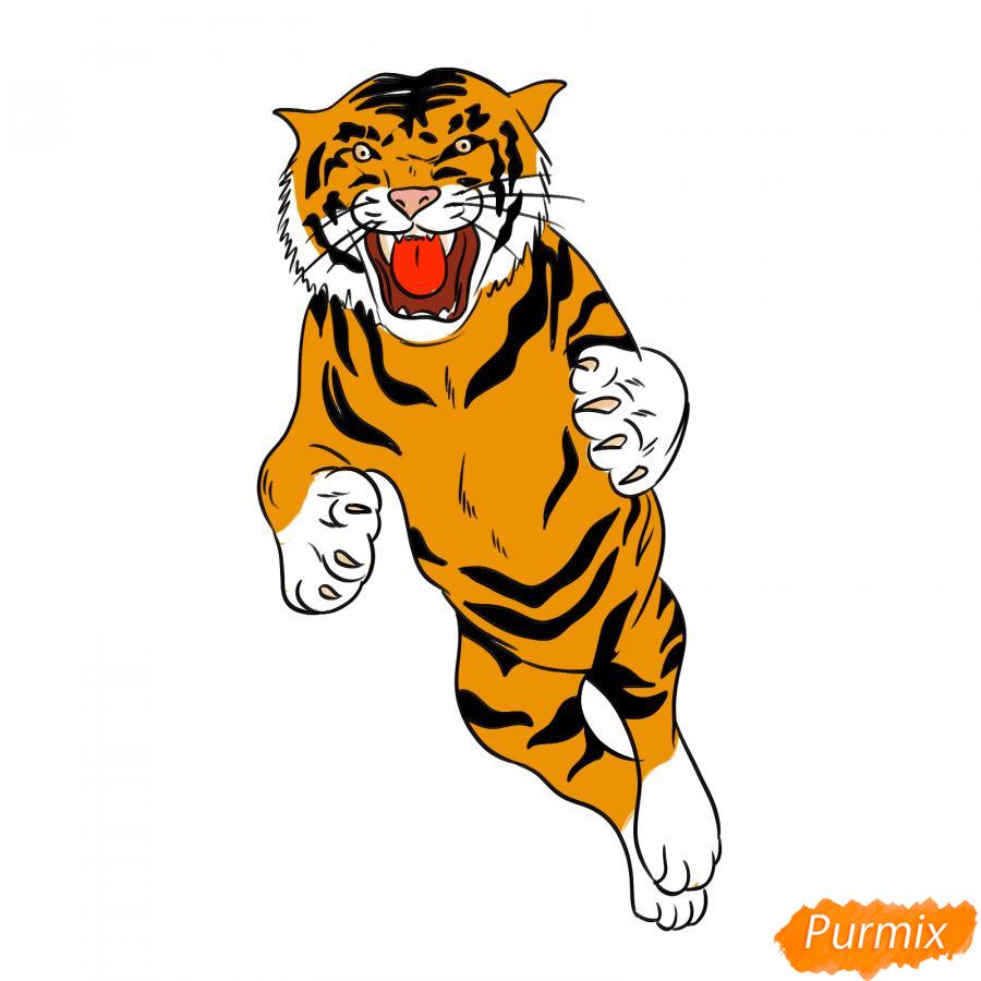 Рисуем амурского тигра в прыжке - шаг 8