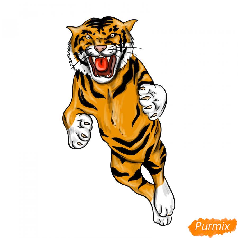 Рисуем амурского тигра в прыжке - шаг 9
