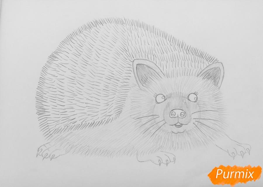 Рисуем ёжика простыми карандашами - шаг 6