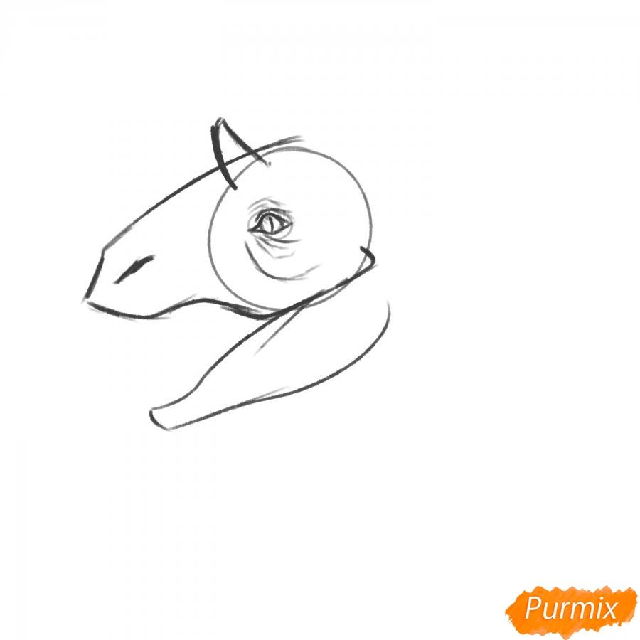 Рисуем голову динозавра - шаг 4