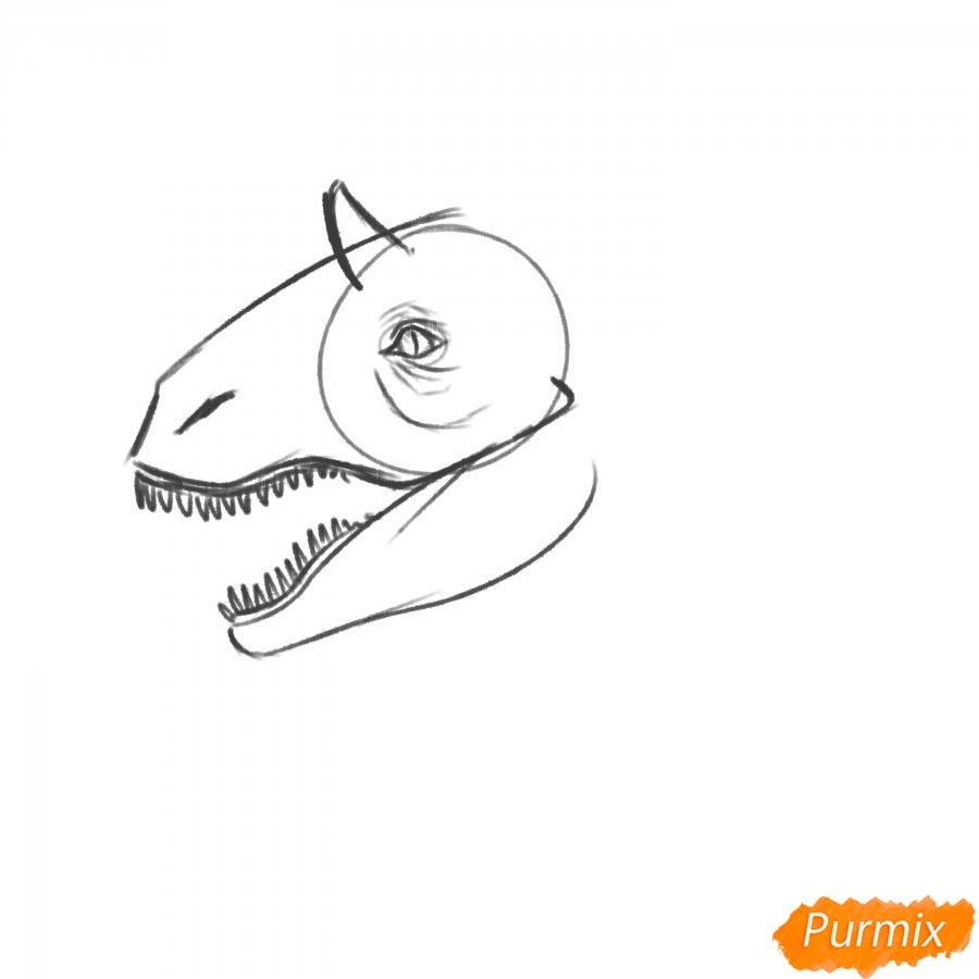 Рисуем голову динозавра - шаг 5