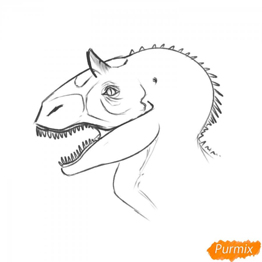 Рисуем голову динозавра - шаг 6