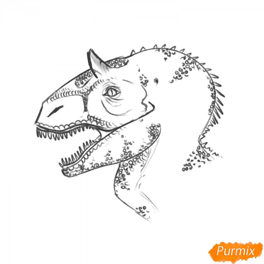Рисуем голову динозавра - шаг 7