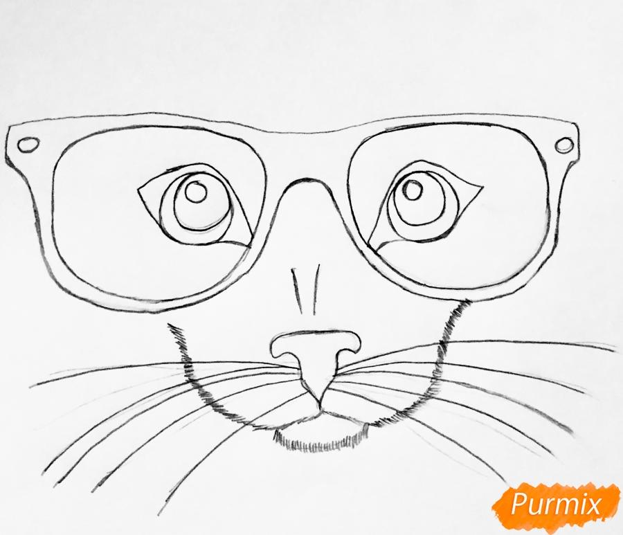 Рисуем портрет кошки в красных очках и с бантом - шаг 2