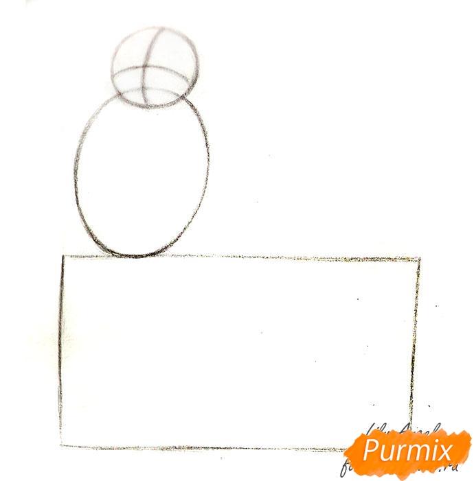 Рисуем котенка в коробке - шаг 1
