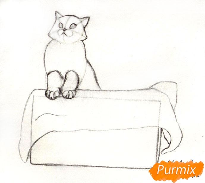 Рисуем котенка в коробке - шаг 3