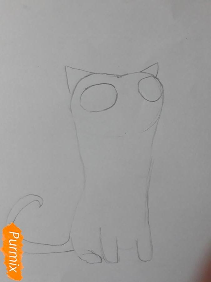 Рисуем мультяшного кота карандашами - шаг 3