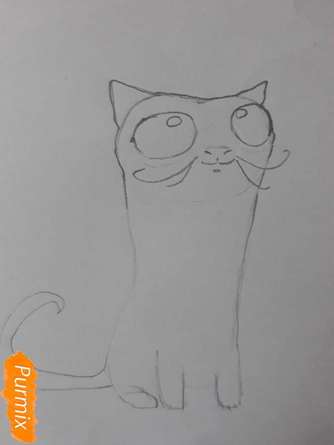 Рисуем мультяшного кота карандашами - шаг 4