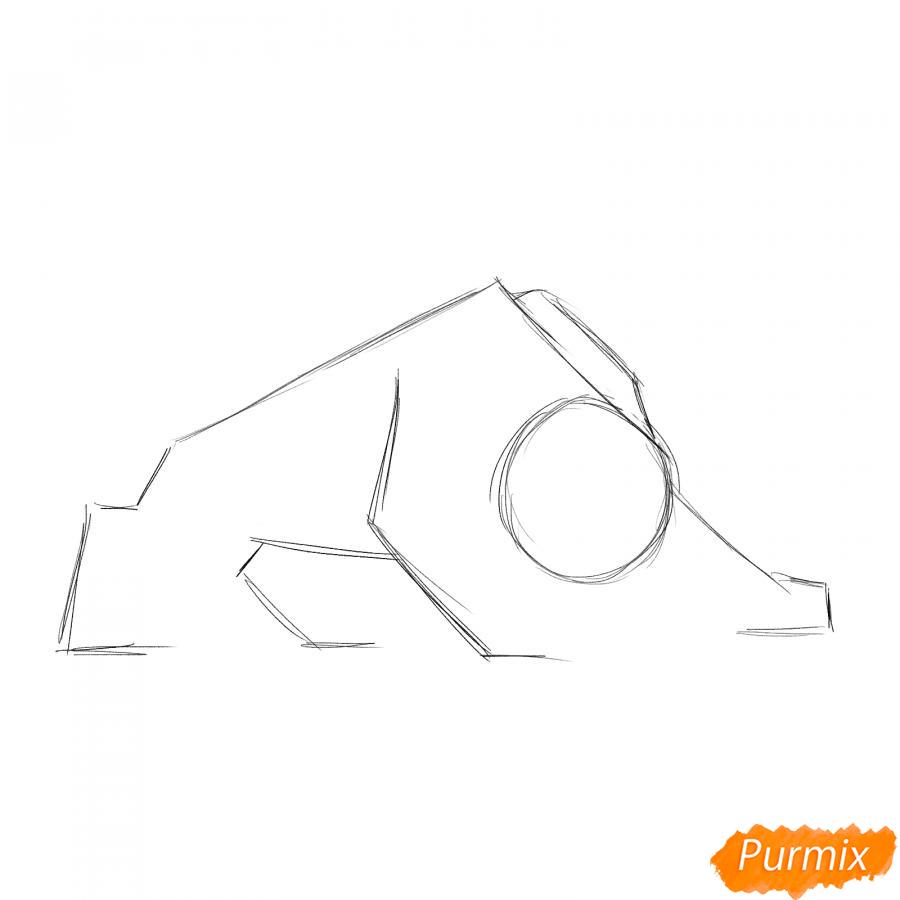 Рисуем рычащего тигра карандашами - шаг 1