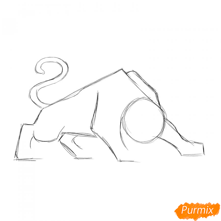 Рисуем рычащего тигра карандашами - шаг 2