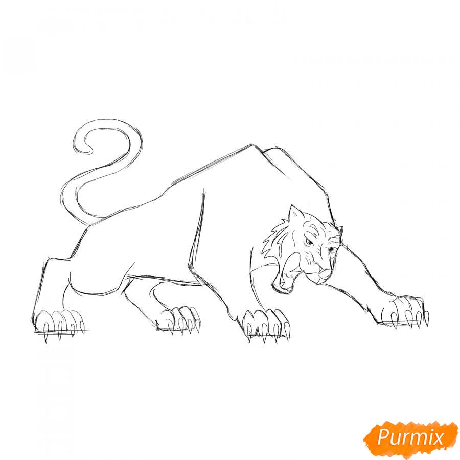 Рисуем рычащего тигра карандашами - шаг 4