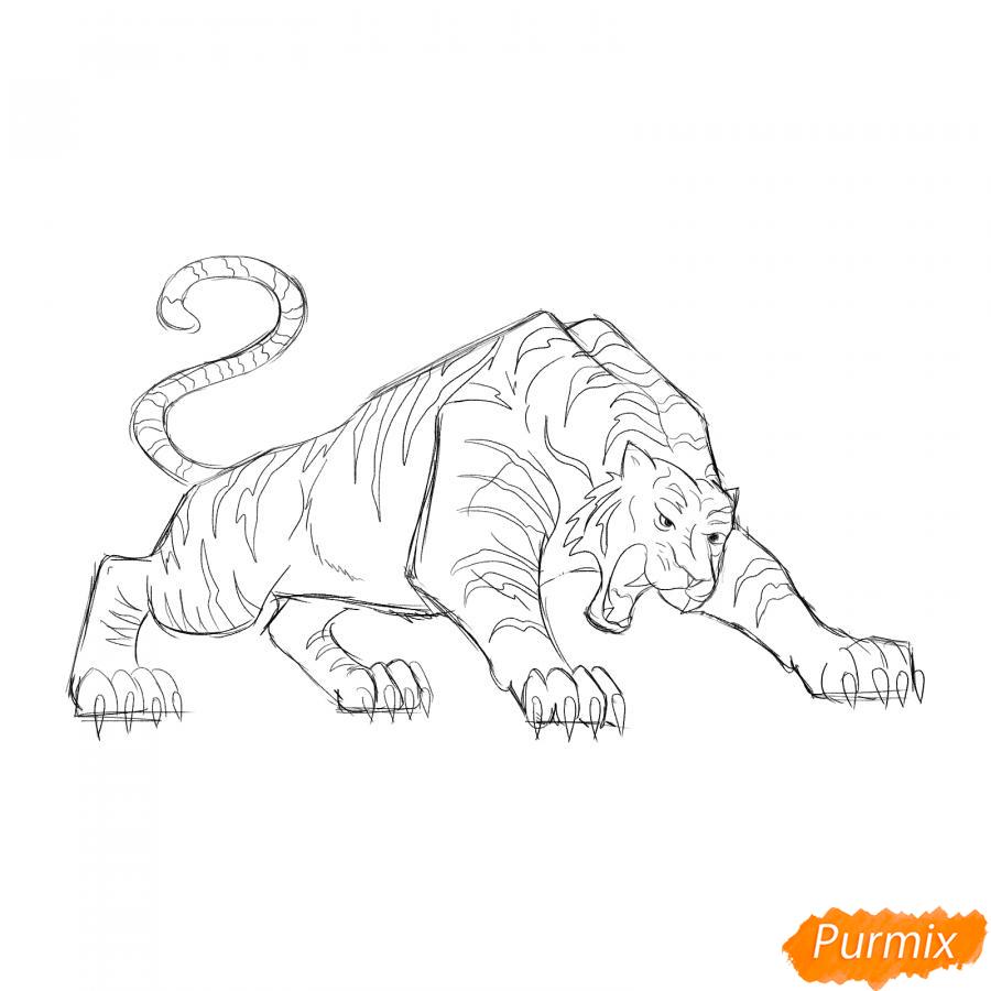 Рисуем рычащего тигра карандашами - шаг 5