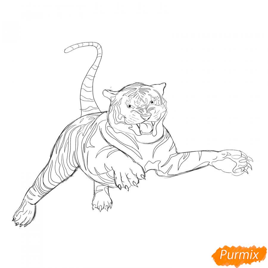 Рисуем рычащего тигра в прыжке - шаг 4