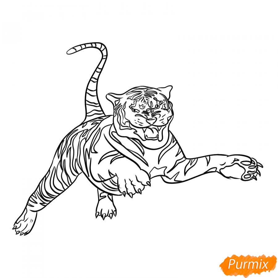 Рисуем рычащего тигра в прыжке - шаг 5
