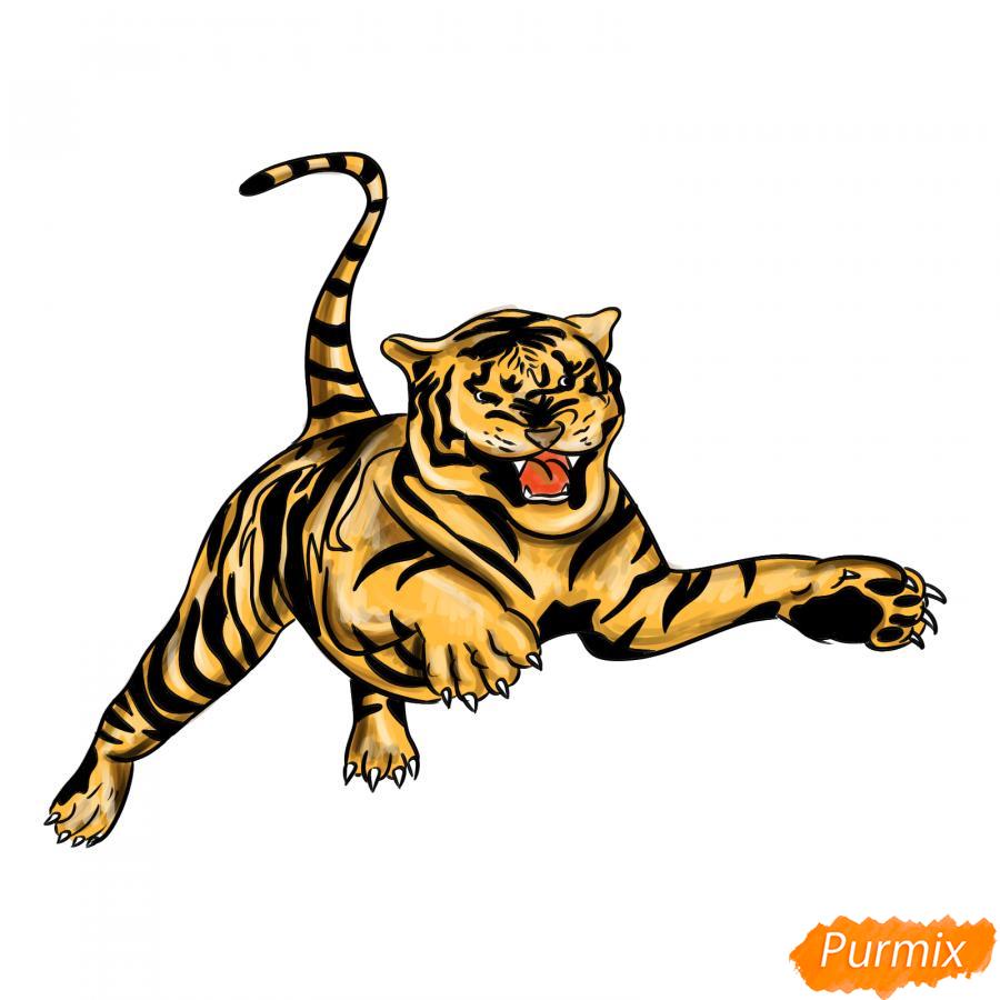 Рисуем рычащего тигра в прыжке - шаг 9