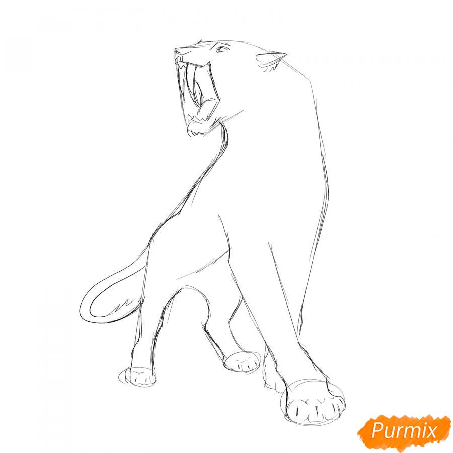 Рисуем саблезубого тигра карандашами - шаг 3