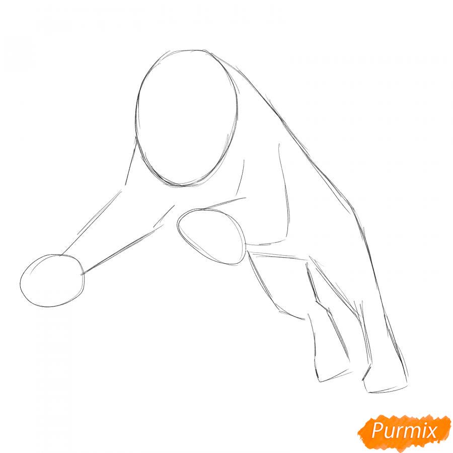 Рисуем саблезубого тигра в прыжке - шаг 1