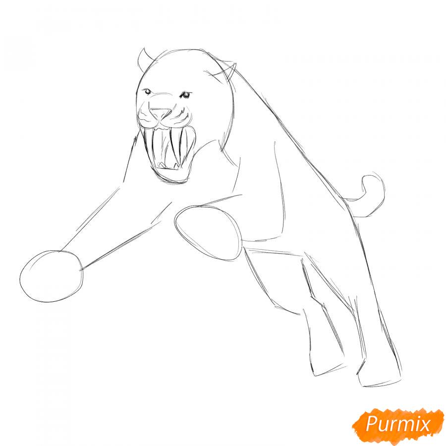 Рисуем саблезубого тигра в прыжке - шаг 2