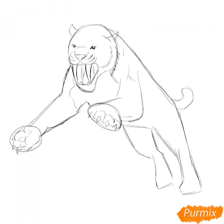 Рисуем саблезубого тигра в прыжке - шаг 3