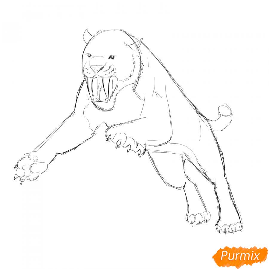 Рисуем саблезубого тигра в прыжке - шаг 4