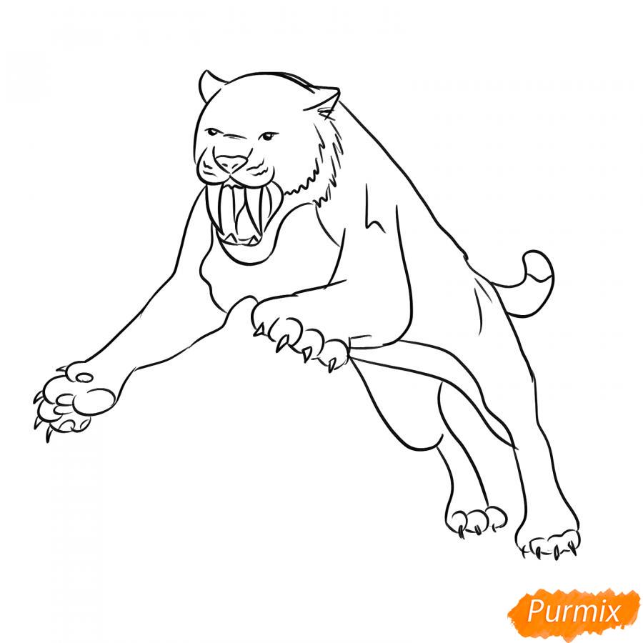 Рисуем саблезубого тигра в прыжке - шаг 5