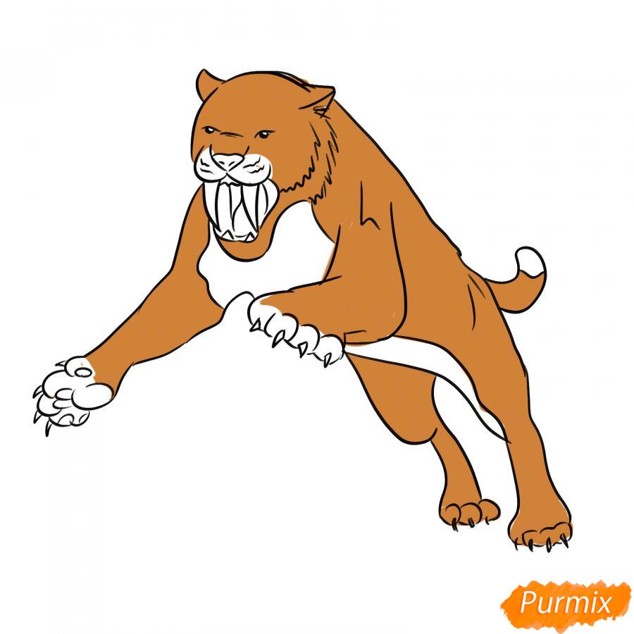 Рисуем саблезубого тигра в прыжке - шаг 6