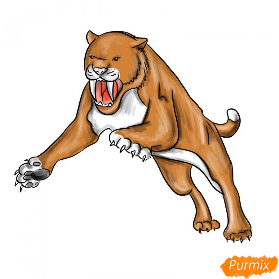 Рисуем саблезубого тигра в прыжке - шаг 7