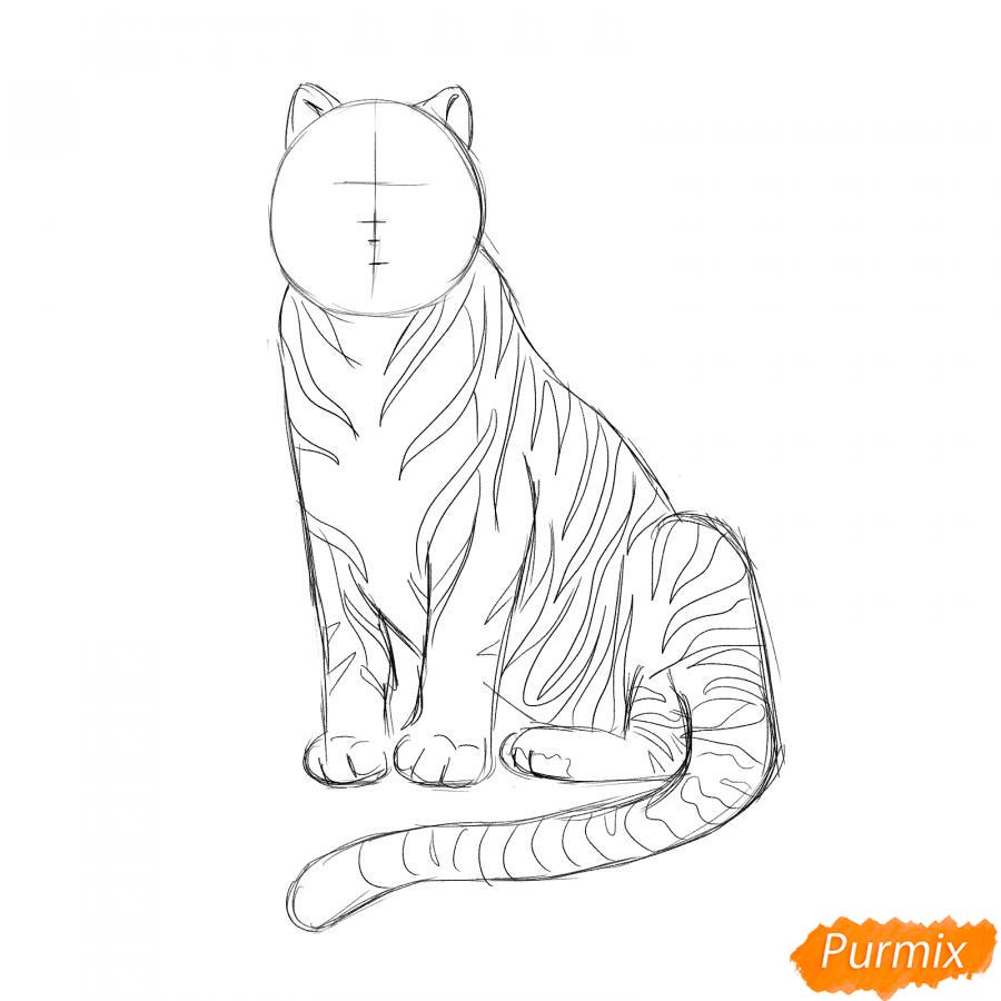 Рисуем сидячего черного тигра - шаг 4
