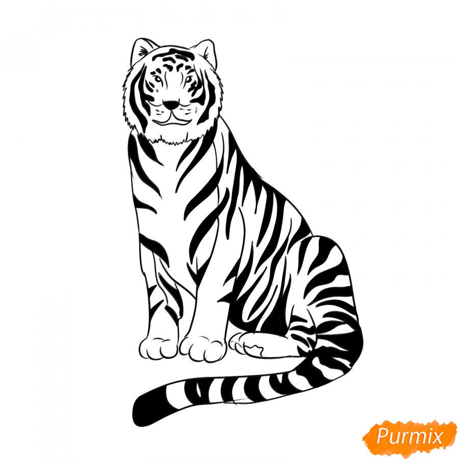 Рисуем сидячего черного тигра - шаг 7