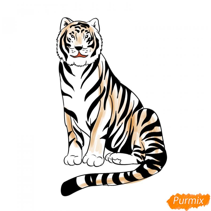 Рисуем сидячего черного тигра - шаг 8
