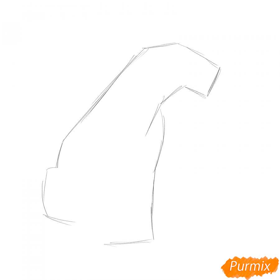 Рисуем сидящего саблезубого тигра - шаг 1
