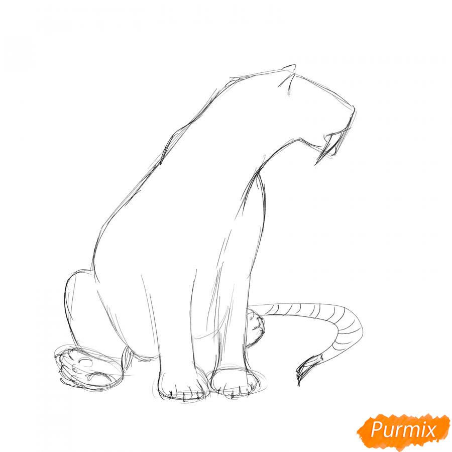Рисуем сидящего саблезубого тигра - шаг 3