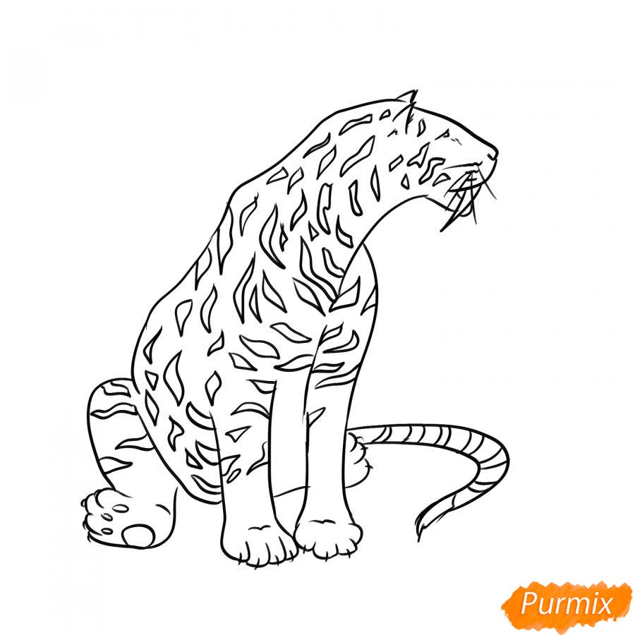 Рисуем сидящего саблезубого тигра - шаг 5