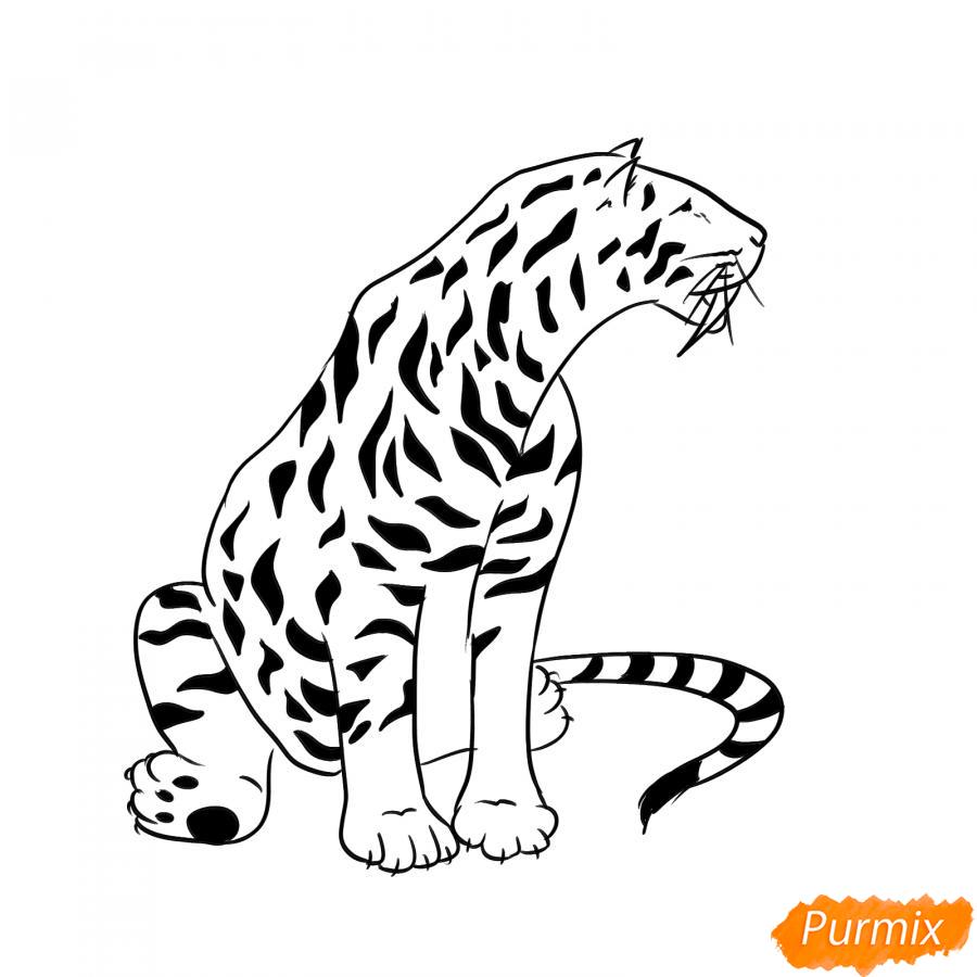 Рисуем сидящего саблезубого тигра - шаг 6