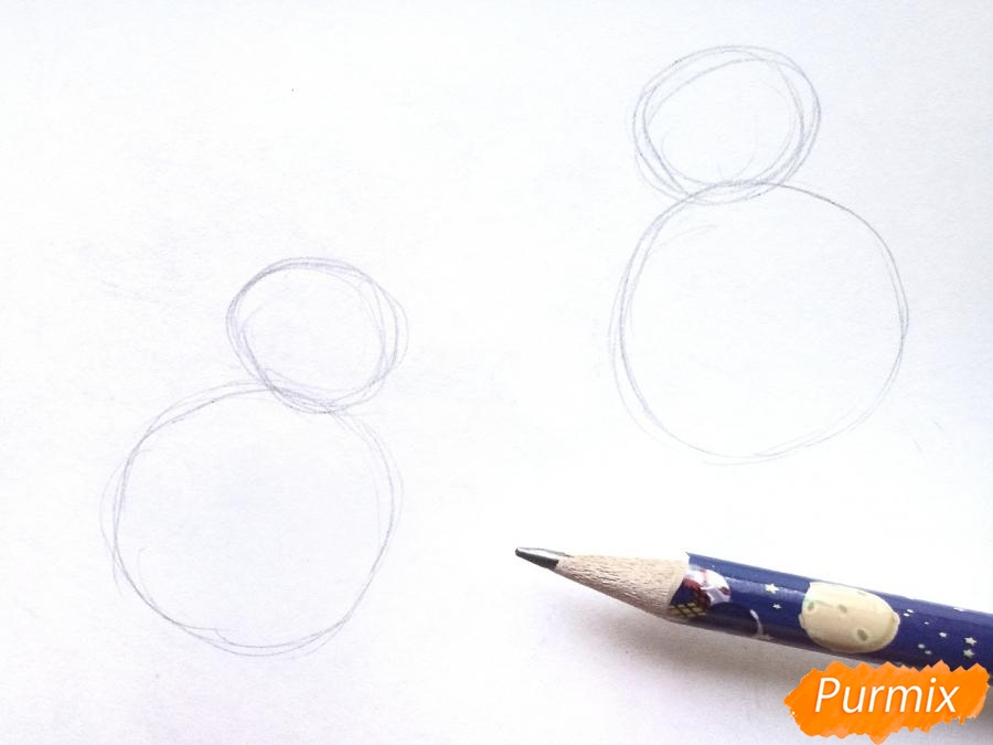 Рисуем снегирей на ветке зимой карандашами - шаг 1